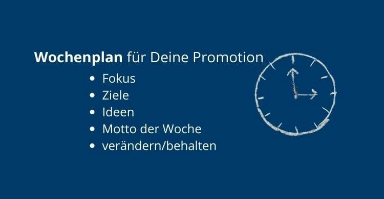 Wochenplan für Deine Promotion